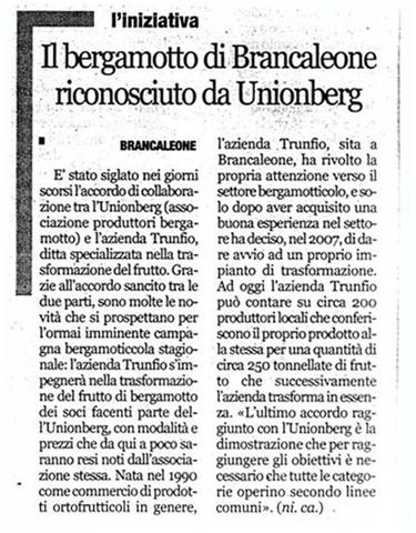 Il Bergamotto di Brancaleone Riconosciuto Unionberg