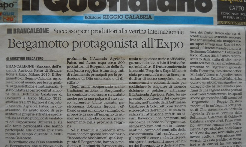 Bergamotto protagonista all'EXPO