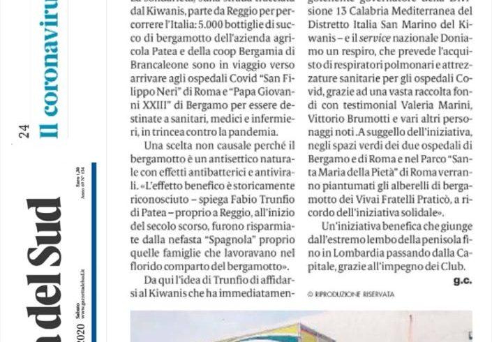 Succo di Bergamotto donato agli ospedali Covid